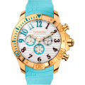 BREEZE Sunsation Rose Gold Turquoise Rubber Chronograph 110311.9