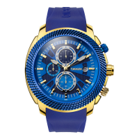 BREEZE Pacific Hype Gold Blue Rubber Chronograph, 110331.8
