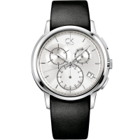 Calvin Klein Drive Chrono Silver Dial Black Leather Strap - K1V27820