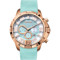 Breeze Tropical Affair 47mm, Turquoise Chronograph Rose Gold Rubber Strap 110161.7