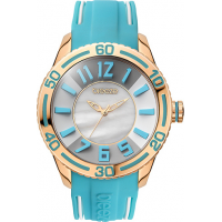 Breeze Miami Twist Rose Gold Light Blue Rubber Strap 110191.1