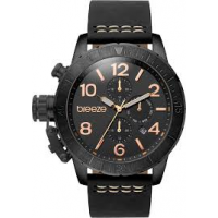 BREEZE Kryptonite Dual Time Black Leather Strap 110702.2