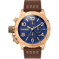 BREEZE Kryptonite Dual Time Rose Gold Brown Leather Strap 110702.3