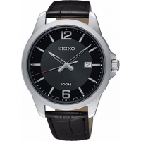 SEIKO SUR251P1 Mens Black Leather