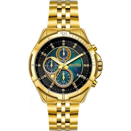 BREEZE Empressa Crystals Gold Stainless Steel Chronograph 212191.6